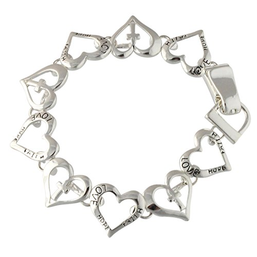 Heirloom Finds Faith Love and Hope Sweet Hearts Bracelet in Silver Tone 7″ Long