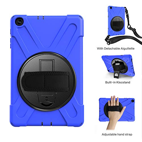 Galaxy Tab A 10.1 2019 T510 T515 Case, ZERMU Heavy Duty 3in1 Shockproof Hard PC+Silicone Armor Case with Built-in Stand+Hand Strap+Shoulder Strap for Samsung Galaxy Tab A 10.1 2019 SM-T510/SM-T515 (Logitech Keyboard Case For Samsung Galaxy Tab 10-1)