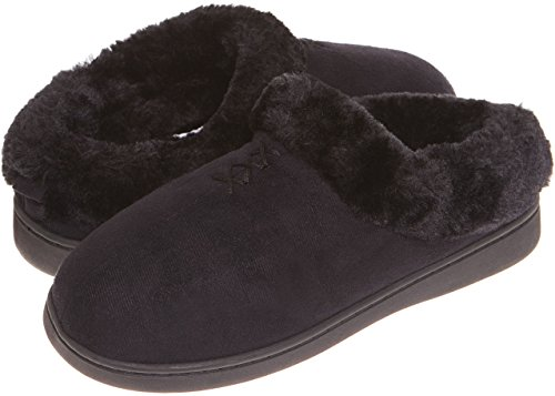 Jockey Womens Faux Fur Slip On House Slippers (L, Black)