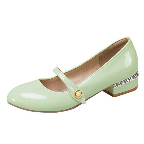 Carolbar Women's Sweet Lovely Mid Heel Patent Leather Court Shoes Mint Green MfDGOtKGA