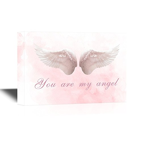 wall26 - Wings Series Canvas Wall Art - Two Feather Wings with You are My Angel Quotes - Gallery Wrap Modern Home Decor | Ready to Hang - 12x18 inches -
