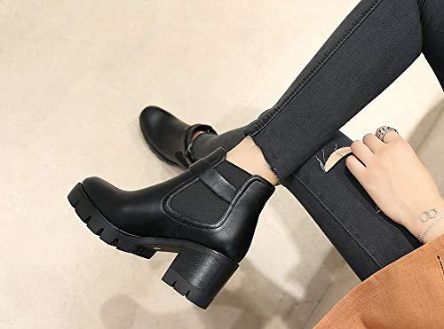 À Bout Rond Bottine Lanière Fermeture Noir Femme Classique Aisun Enfiler qXBtgnx