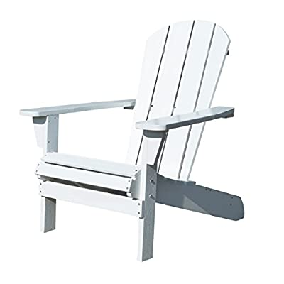 Northbeam Faux Wood Foldable Relaxed Adirondack Chair, Outdoor, Garden, Lawn, Deck Chair, White - Plastic Adirondack Chair - This Foldable Adirondack outdoor Chair is made out of plastic wood (Polystyrene) which lasts forever and is maintenance free Ergonomically Designed - The ergonomic structure of this chair ensures optimal comfort and relaxation Foldable Chair - Our Foldable Wooden Adirondack Chair itself is light weight and very easy to handle, as it folds flat for easy storage - patio-furniture, patio-chairs, patio - 41O2Wk9dm7L. SS400  -