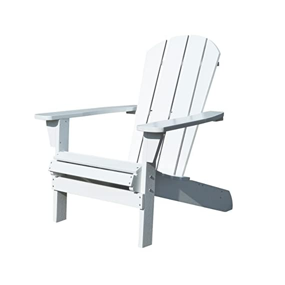 Northbeam Faux Wood Foldable Relaxed Adirondack Chair, Outdoor, Garden, Lawn, Deck Chair, White - Plastic Adirondack Chair - This Foldable Adirondack outdoor Chair is made out of plastic wood (Polystyrene) which lasts forever and is maintenance free Ergonomically Designed - The ergonomic structure of this chair ensures optimal comfort and relaxation Foldable Chair - Our Foldable Wooden Adirondack Chair itself is light weight and very easy to handle, as it folds flat for easy storage - patio-furniture, patio-chairs, patio - 41O2Wk9dm7L. SS570  -