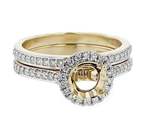 Midwest Jewellery 14K Gold Semi Mount Ring Setting Fits 1ct Round Solitaire Halo Style 2pc Set 1/2 Diamonds