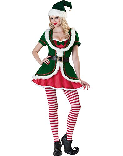 Women's Elf Deluxe Sexy Santa Costume Adult Christmas Outfits Cosplay Suit Clothing (Sexy Elf Adult Costumes)