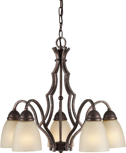 (Forte Lighting 139306 2281-05-27 Chandelier with Umber Linen Glass Shades, 21