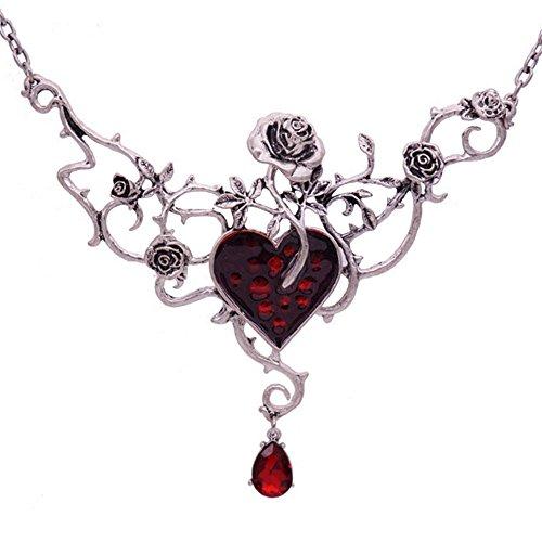 Halloween Fashion Blood Heart Rose Skull Collar Necklace