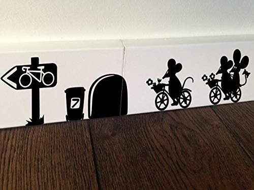 (Alfr2427Meg The Cherry Blossom Wall Sticker Mouse Ride a Bike Bicycle)