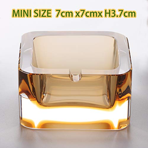 (Crystal Ashtray ,Mini Size Yellow Flat Fashion Creative Glass Ash, Clear and Heavy Suitable for Living Home or Hotel and Office, Suitable for 1 Person,In Favour of smoking controalling.)
