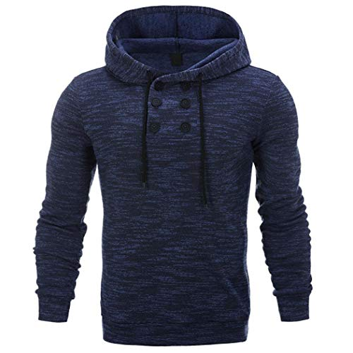 NRUTUP SweatShirt Men's Casual Slim Fit Long Sleeve Zipper Hoodie With Pocket Autumn Winter Outwear Blouse New (Blue, 2XL)