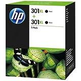 HP 301XL - Pack de ahorro de 2 cartuchos de tinta Original HP 301 XL de álta capacidad Negro para HP DeskJet, HP OfficeJet y HP ENVY