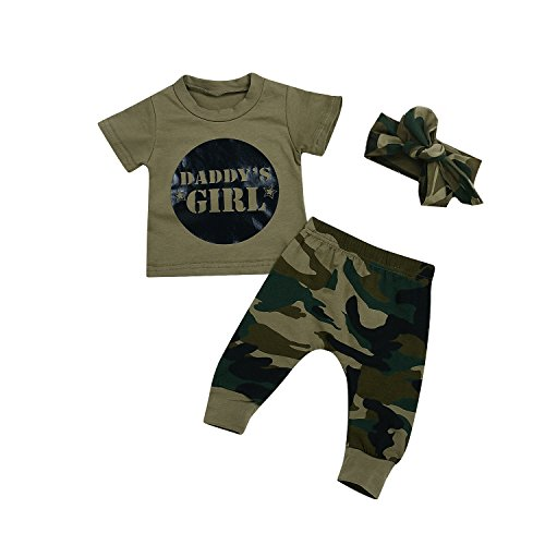 Kashoer 3Pcs Daddy's Baby Boy Girls Letters Print T-Shirt Top+Long Camouflage Pant+Headband Bodysuit (Daddy's Girl, 0-6Months) ()