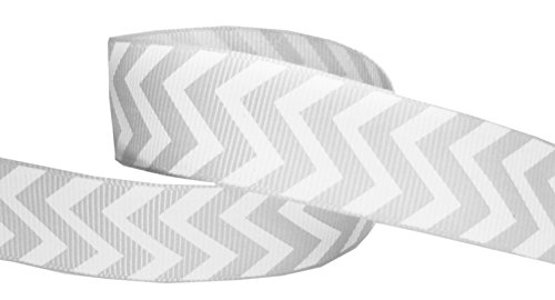(Hipgirl 7/8 Grosgrain Designer Fabric Ribbon Gift Package Wrapping, Hair Bow Clip Accessory Making, Crafting, Sewing, Wedding Decor, Boy Girl Baby Showerr-Chevron, Grey(D043))