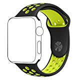 Inteny Apple Watch Band Series 1 Series 2, Soft Silicone Sport Band Replacement Wrist Strap for iWatch, 42mm S/M Black&Volt