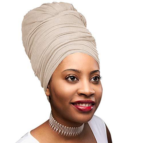 30 Colors| Novarena 1-4 Pc Solid Color Head Wrap Stretch Long Hair Scarf Turban Tie Kente African Hat Jersey Knit Headwrap