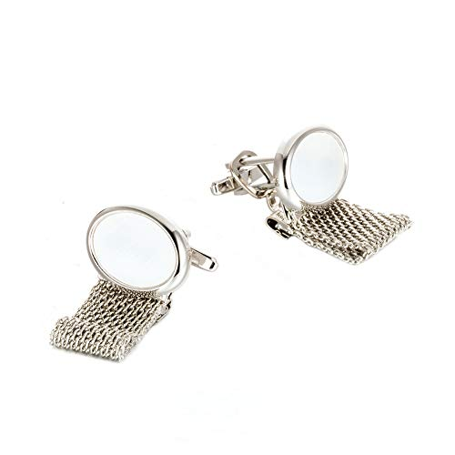 Da.Wa Silver Elliptical Crystal Chain Cuff Links Men's Business Wedding Shirt Cufflinks Set