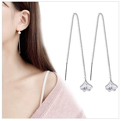 - A&C Fashion Korean Version Alloy Ginkgo Leaves Earrings for Women. Unique Handmade Earrings Jewelry for Girl. (Silver Color)