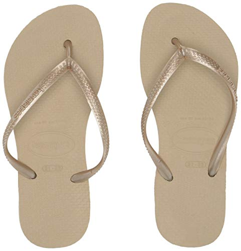 Havaianas Kid's Slim Flip Flop Sandals (Toddler/Little Kid),Sand Grey/Light Golden,33/34 BR (3-4 M US Little - Flops Flip Kids