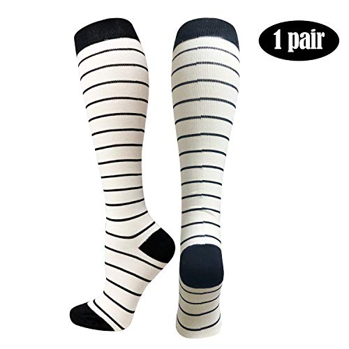 Women's Novelty Compression Socks 20-30mmhg - Christmas tree、colorful love、wine glasses、flowers、dog (1 Pairs) (S/M, Black Stripe) ()