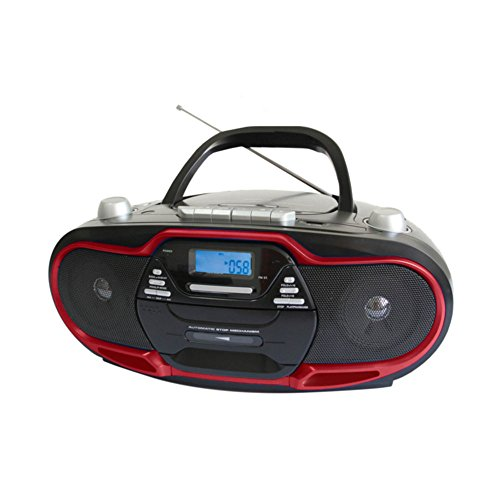 Supersonic SC-745 Portable Boombox Red CD AM/FM MP3 W/ USB/AUX Cassette Recorder Electronic Accessories