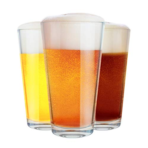 Clear Beer Pint Glasses, Pub Drinking Glasses Best for Cocktails, Water, Juices and Other Beverages, 16oz, Set of 3 by…