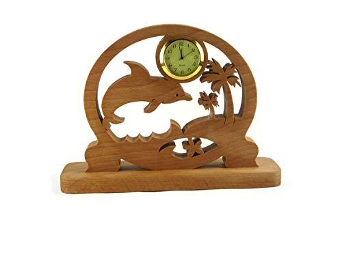 Dolphin Scene Desk Or Shelf Clock Handmade From Beech Wood ()