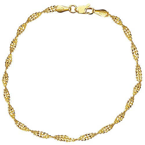 (Ritastephens 14k Yellow Gold Shiny Diamond-cut Twisted Bead Bracelet with Lobster Cl)