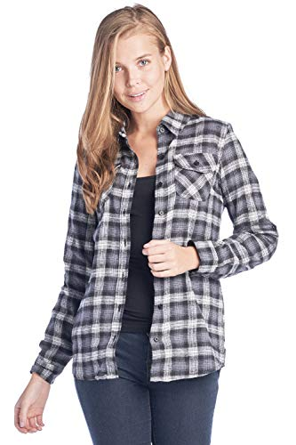 ICONICC Women's Long Sleeve Plaid Flannel Shirt ()
