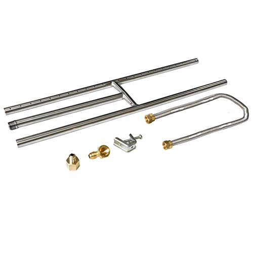 Stanbroil Rectangular Stainless Steel H-Burner for Fireplace or Fire Pit, 24 x 6 Inches Burner Kit