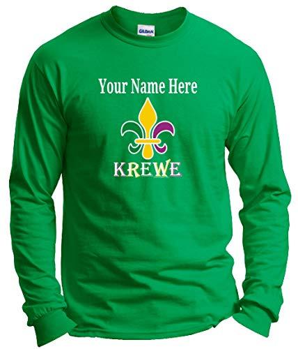 Krewe Fleur-de-LYS Punny MardiGras Top Mardi Gras Clothes Custom Name Fleur-de-lis Krewe Custom Long Sleeve T-Shirt Large Large Green