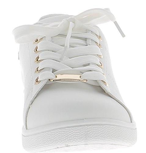 Baskets ville femme blanches avec insert doré et semelle blanche