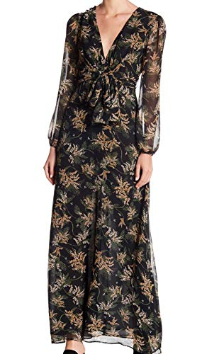 Maxi Tropical M Neck Dress Medium Womens Dress Black V Forum wgYY4qt