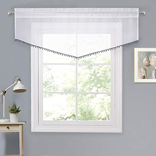 NICETOWN Decorative White Sheer Valance - Rod Pocket Voile Ascot Beaded Window Curtain with Grey Pom Pom for Kitchen (White Sheer + Grey Pompoms, W54 x L20, 1 Panel)