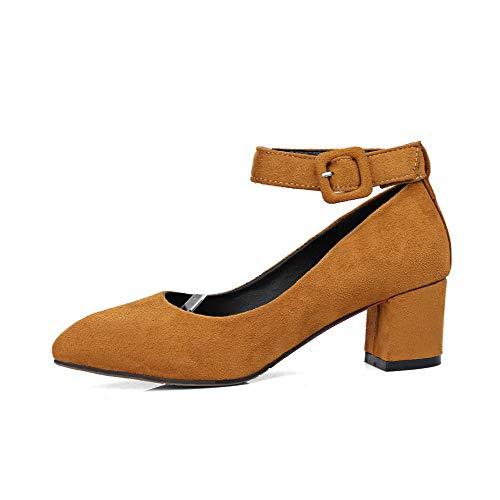 Ballet Puro Flats Giallo Medio GMMDB006623 Pelle Donna Mucca Tacco AgooLar Fibbia di zwU0gg