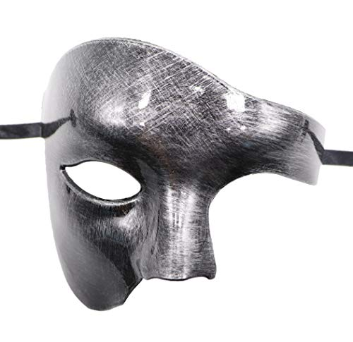 Half Face Halloween Male (Coolr Mens Phantom of The Opera Masquerade Half Face Vintage Mardi Gras Venetian Mask (Antique)