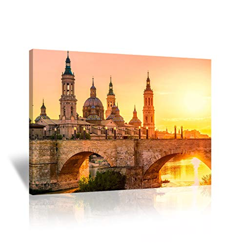 Prague Castle - Mon Art-Prague Castle Canvas Print Czech City Wall Art Bridge at Sunset Picture for Office Bedroom Living Room Golden Sunset Decoration Vintage Home Decor Retro Artwork 12x16 inches,Framed