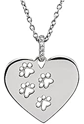 Diamond Accent Heart Paw Pendant with chain in Sterling Silver