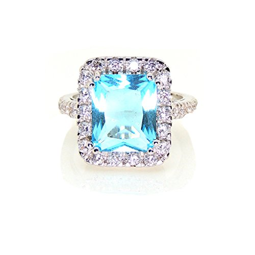 Blue Radiant Ring Topaz (Ginger Lyne Collection Gina Lab Grown Blue Topaz Exquisite 6 Carat Radiant Cut Ring)