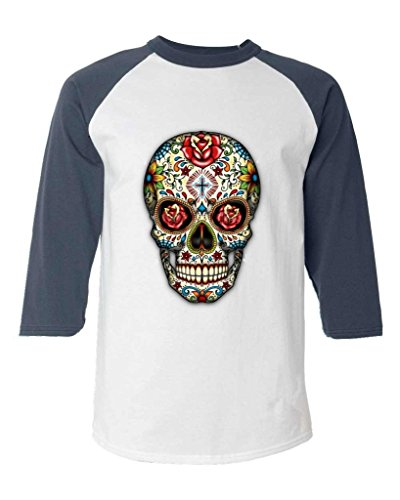Sugar Skull Roses Baseball Shirt Day of the Dead Raglan ShirtMedium White/Navy 16553