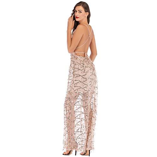 Briskorry Damen Cocktailkleid, Tief V-Ausschnitt Pailletten Flapper Abendkleider Lang Elegante Partykleider Schulterfrei Hochzeit Knielang Bodycon Kleid