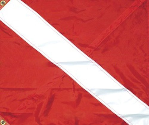 SeaSense Nylon Diver Down 3 Tier Flag, 20-Inch x  24-Inch (Dive Nylon Flag)