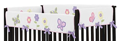 Sweet Jojo Designs Pink and Purple Butterfly Long Front Rail Guard Baby Girl Teething Cover Protector Crib Wrap