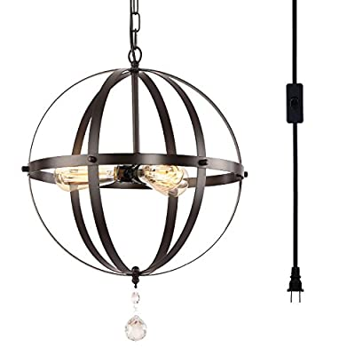 HMVPL Plug-in Industrial 3 Light Globe Pendant with 16.4 Ft Hanging Cord and Toggle Switch, Oil Rubbed Bronze Finish, Vintage Metal Chandelier Ceiling Light Fixture ...