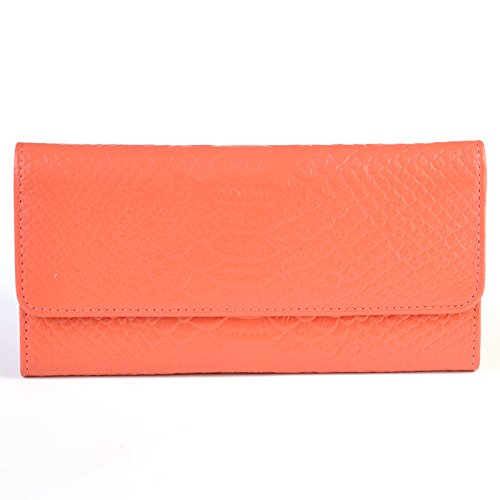 Korean Style Lady Purse Long Clutches Genuine Leather Wallet with Crocodile Grain (Watermelon Red)