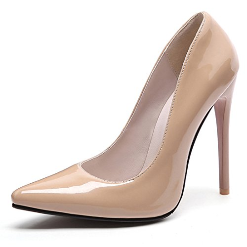 Women's High Heel Stiletto Pointed Toe Pumps(Apricot) - 1