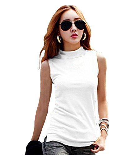 Women's Mock Turtleneck Fullback Sleeveless Shaping Tank Top Shirt Tops White Large
