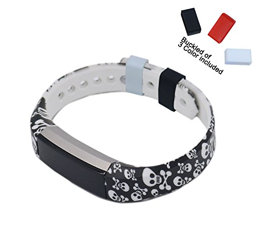 Cool Skulls Fitbit Alta Accessory Wristband, Silicone Replacement Wrist Band / Armband (Skull Buckle Metal)
