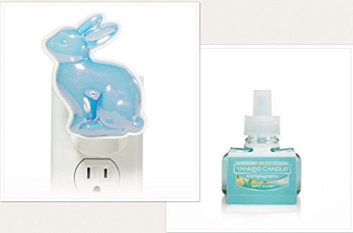 Yankee Candle Blue Pearlescent Bunny Scent Plug Diffuser Unit With A Happy Easter Home Fragrance Electric Refill