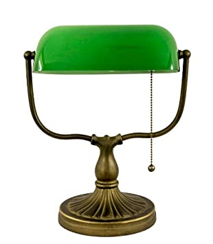 Tiffany Banker Vintage Old Accent Bedside Table Lamp Classic Green Style  Desk Office Lamp Lighting For